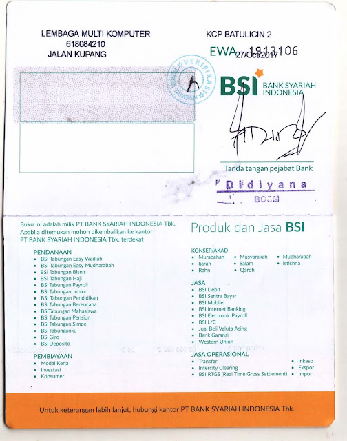 Buku Nomor Rekening BSI LKPK Multi Komputer