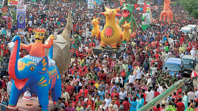 Crowds are celebrating Bengali New Year