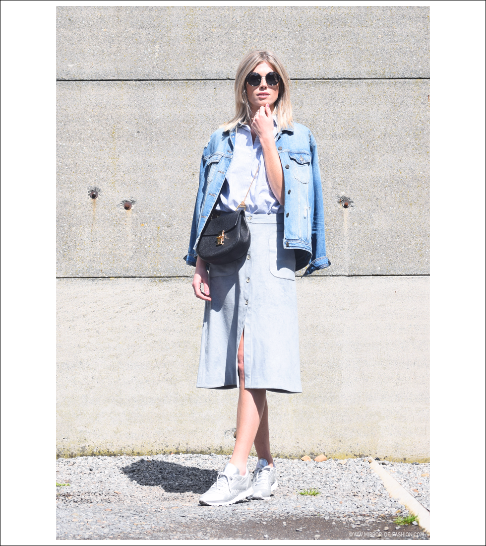 Outfit of the day, Reebok, Essilor, Dries Van Noten, Aeron, Smits Studio, Zara, Chloé, fashion, style, blogger, midi, suede, skirt