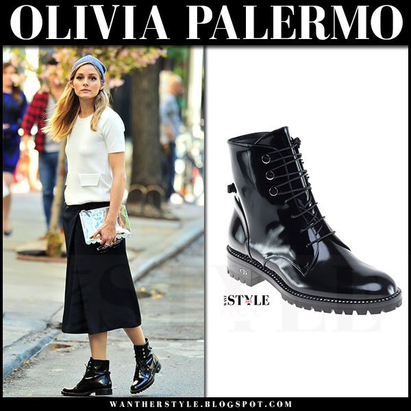 Olivia Palermo in white top, black midi skirt and black patent army boots dior rebelle what she wore
