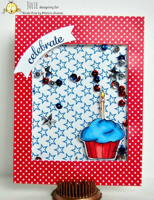 4th of July card using cupcake digital stamp