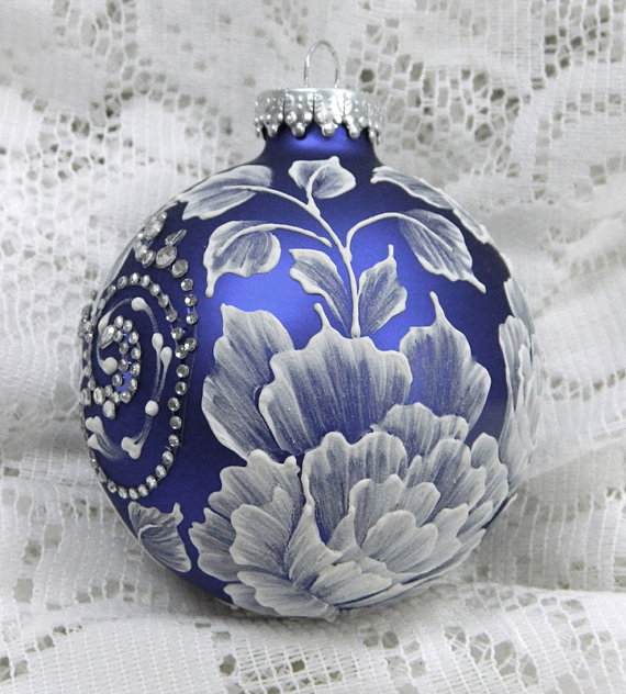 Beautiful Royal Blue Christmas Ornaments Part - 9: Royal Blue Christmas Ornament With Hand Painted MUD 3D Flowers And  Rhinestone Bling 5