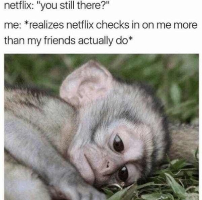 depression meme about Netflix checking in