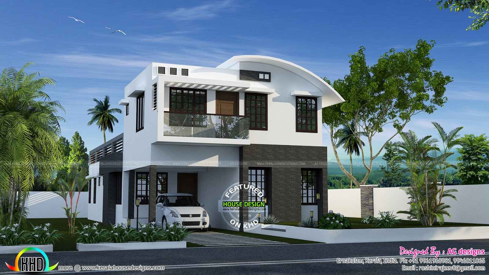 Roof Design Ideas: 232 Sq-m Curved Roof Mix House Plan
