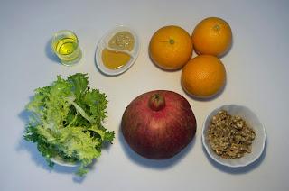 Ensalada con naranja y granada - ingredientes
