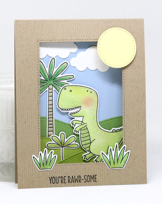 Handmade card from Jody Morrow featuring You're Rawr-some stamp set and Die-namics, Scattered Surface Background stamp, Puffy Clouds, Stitched Valley, Inside & Out Stitched Rectangle STAX, and Stitched Circle STAX Die-namics #mftstamps