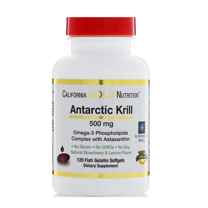 California Gold Nutrition, Масло антарктического криля, с астаксантином, RIMFROST, с натуральным вкусом клубники и лимона, 500 мг, 120 мягких желатиновых капсул