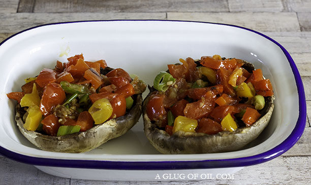 mushrooms with peppers and tomatoes