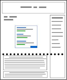 Contoh yang buruk: tata letak situs blog yang mendorong konten ke paro bawah layar
