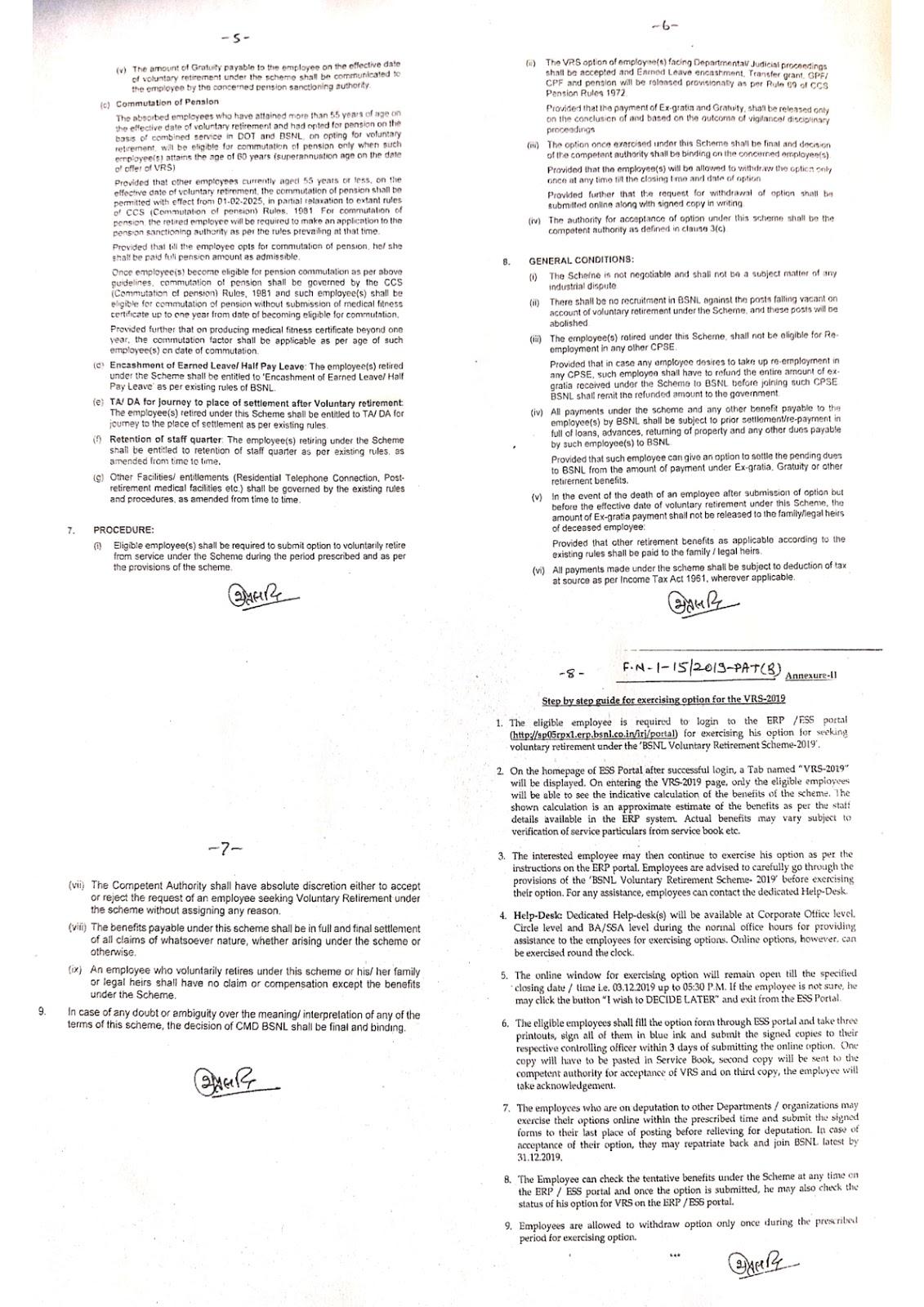 VRS Scheme for BSNL employees