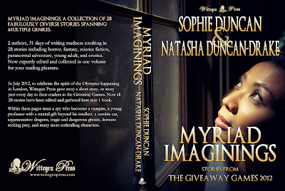Paperback cover for Myriad Imaginings by Natasha Duncan-Drake & Sophie Duncan - Woman staring out of a window at night.