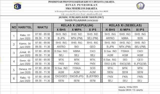 jadwal PAT daring genap 2019-2020 SMAN 110 ジャカルタ
