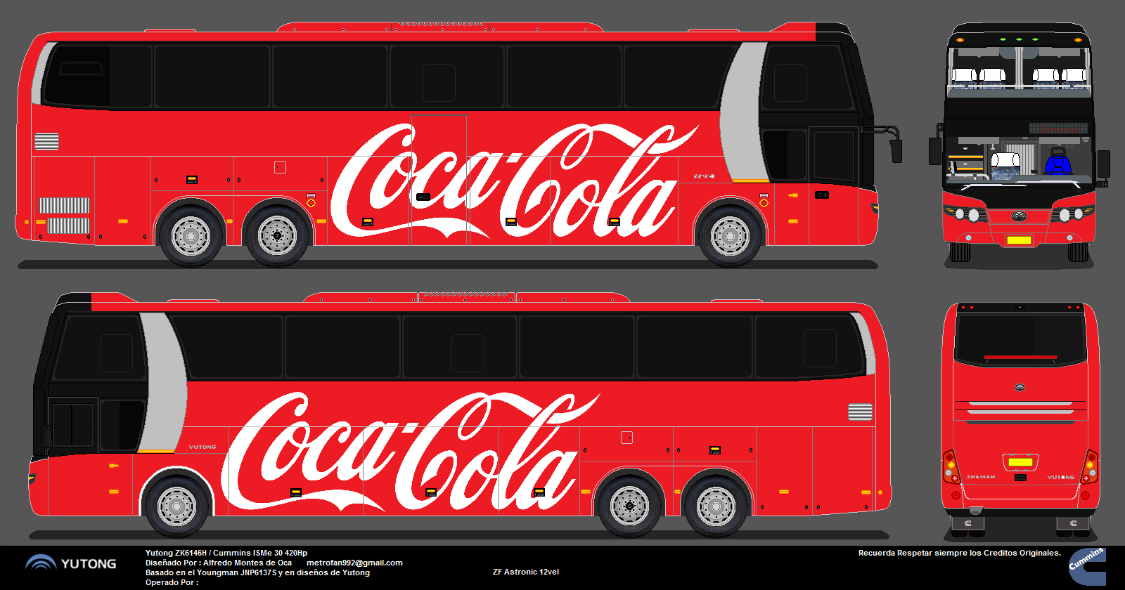 dise os y fotos de buses coca cola yutong zk6146h. Black Bedroom Furniture Sets. Home Design Ideas
