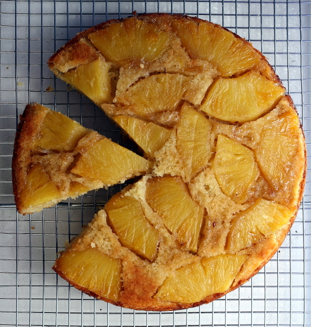 pineapple, coconut and rum upside down cake