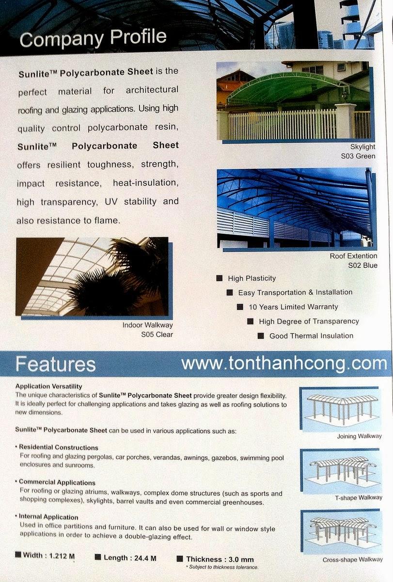 Đặc tính kỹ thuật tấm lấy sáng Polycarbonate rỗng ruột SUNLITE Malaysia