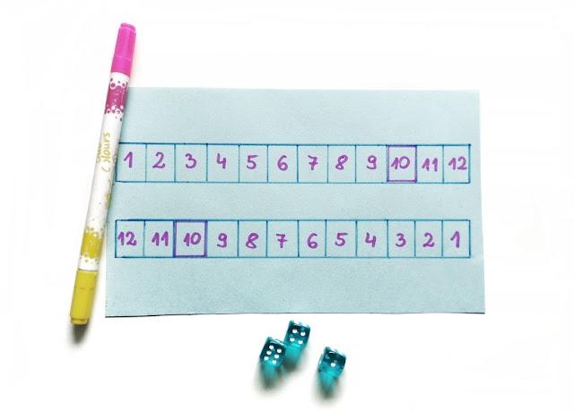 na zdjęciu plansza do gry namalowana odręcznie, obok planszy leży pisak oraz trzy kostki w kolorze błękitny,