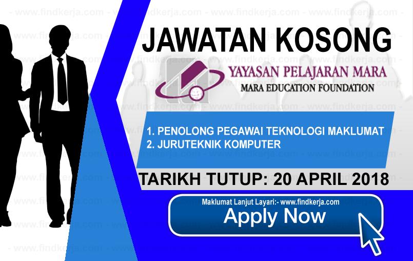 Jawatan Kerja Kosong YPM - Yayasan Pelajaran MARA logo www.findkerja.com april 2018