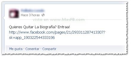 Fraude gusano FB biografía portadas