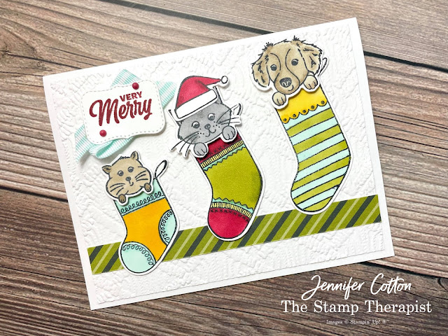 Stampin' Up! Sweet Little Stockings card: Matte Decorative Dots, Pool Party Striped Grosgrain Ribbon, and Sweet Stockings 12x12 DSP (Designer Series Paper).  I also used: Potted Succulents Dies and the Macrame Embossing Folder.  Coloring is Stampin' Blends! #StampinUp #StampTherapist #SweetLittleStockings