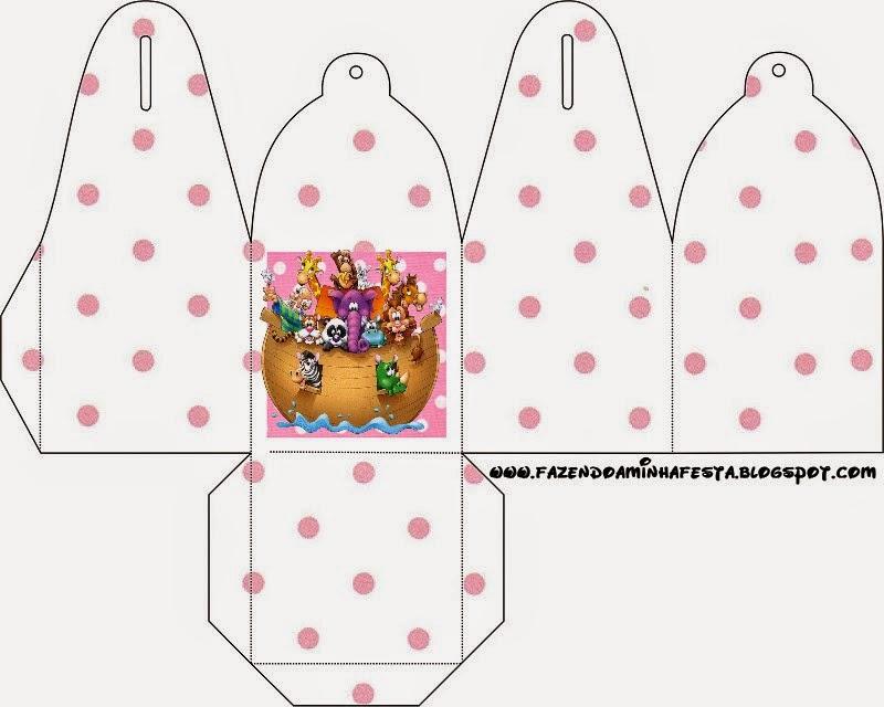 Caja para cupcakes o golosinas de Arca de Noé para Niñas.
