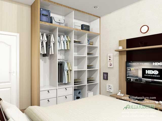 lemari pakaian minimalis 2 pintu sliding unit model fox