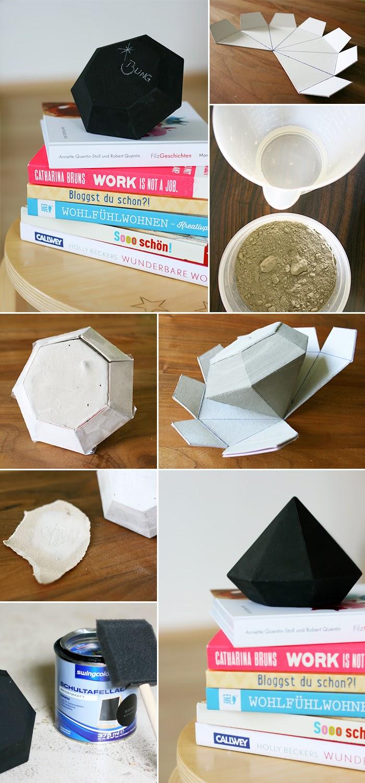 diamant aus zement und tafellack gingered things. Black Bedroom Furniture Sets. Home Design Ideas