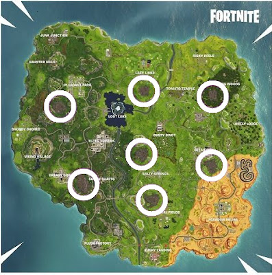 Corrupted Area Locations, Map, Fortnite, Season 6, Week 2