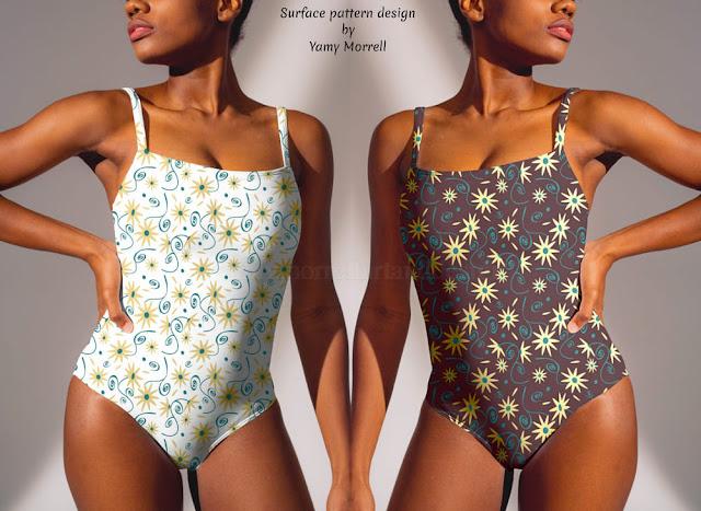 Diseño de patrón de flores vintage sobre bañador