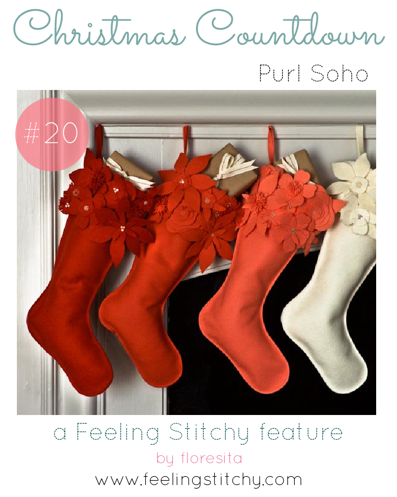 Christmas Countdown 20 - Purl Soho Free Winter Flower Christmas Stocking Pattern featured on Feeling Stitchy by floresita