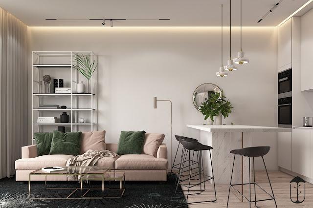 Roz prăfuit și verde închis în proiectul de amenajare al unui apartament de 2 camere