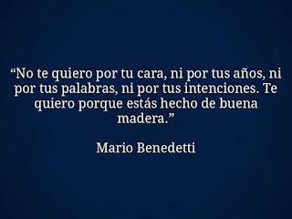 """""""No te quiero por tu cara, ni por tus años, ni por tus palabras, ni por tus intenciones. Te quiero porque estás hecho de buena madera."""" Mario Benedetti"""