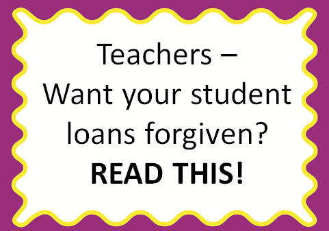 Teacher Student Loan Forgiveness - Learn more about it and how one teacher got over $7,000 paid off in student loans. (Some may qualify for $17,500 or more!!)