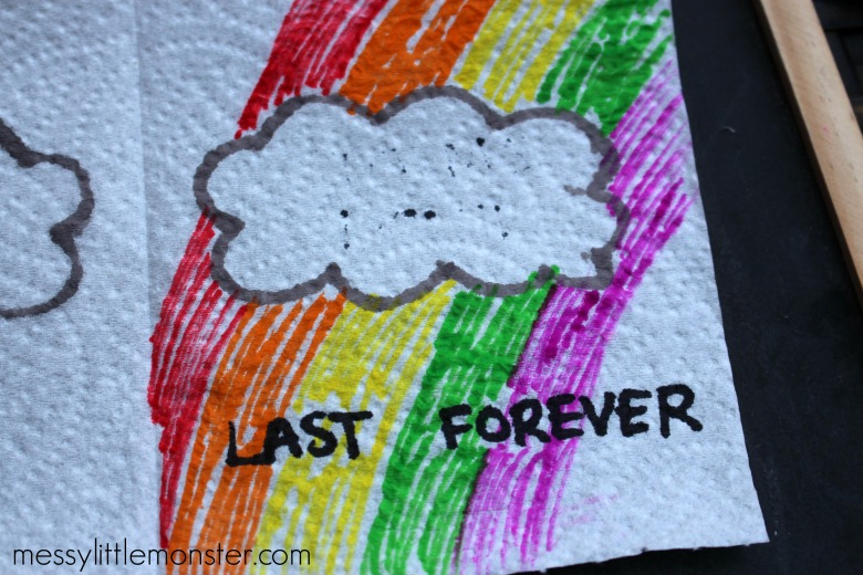 Storms don't last forever paper towel art and science