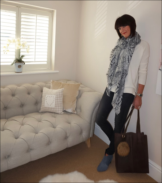 My Midlife Fashion, Hush Cashmere jumper, hush cashmere snake shawl, hush harley jeans, hush thornton boots, black rose collection halle bag