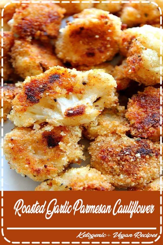 Crispy cauliflower bites with garlic Parmesan breading Roasted Garlic Parmesan Cauliflower