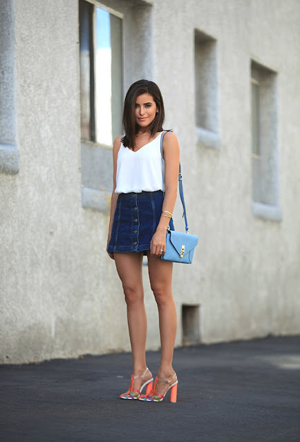 outfit gonna di jeans come abbinare la gonna di jeans abbinamenti gonna jeans denim skirt outfit how to wear denim skirt tendenze estate 2016 mariafelicia magno fashion blogger colorblock by felym fashion blogger italiane fashion bloggers italy