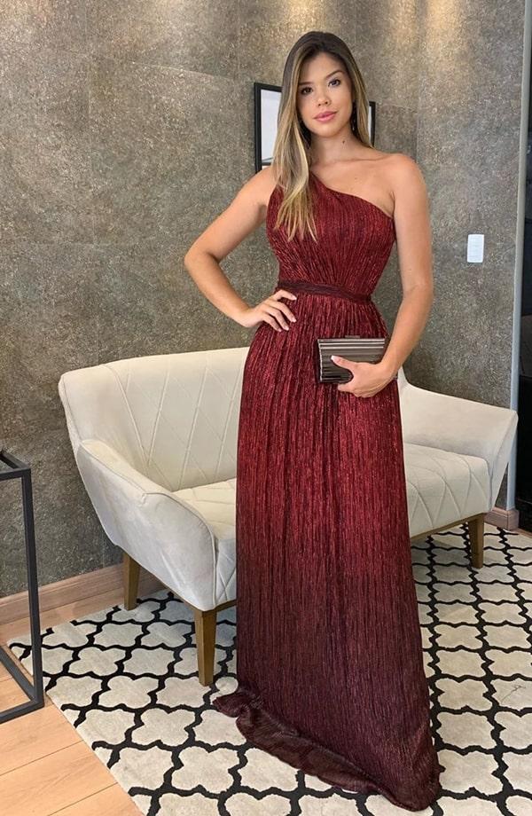 vestido longo marsala com brilho
