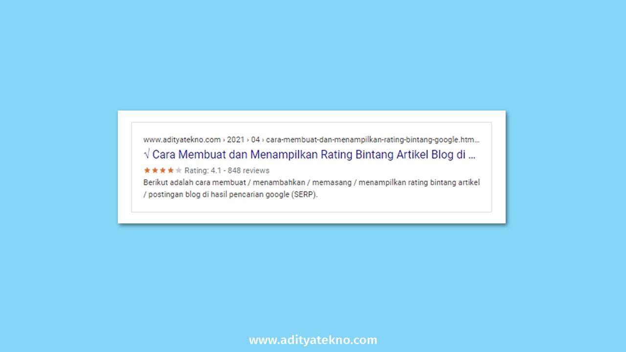 Cara Membuat dan Menampilkan Rating Bintang Artikel Blog di Hasil Pencarian Google