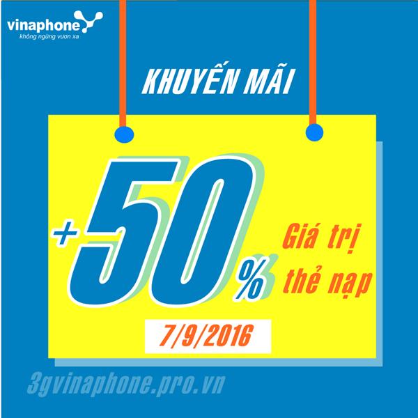 Vinaphone khuyến mãi 50% duy nhất ngày vàng 7/9/2016