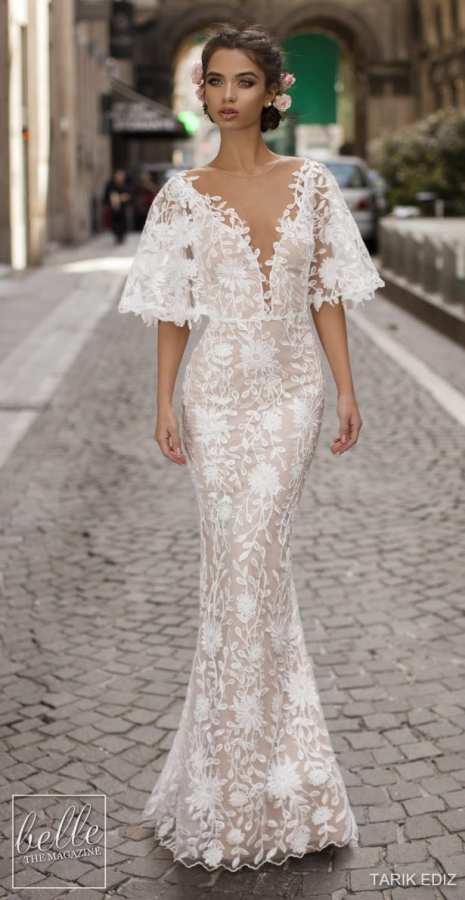 K'Mich Weddings - wedidng planning - wedding dresses - white lace short bell sleeve lace wedding dress - tarik ediz