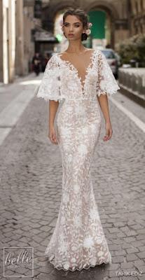 K'Mich Weddings - wedidng planning - wedding dresses - white lace short bell sleeve lace wedding dress - tarik ediz