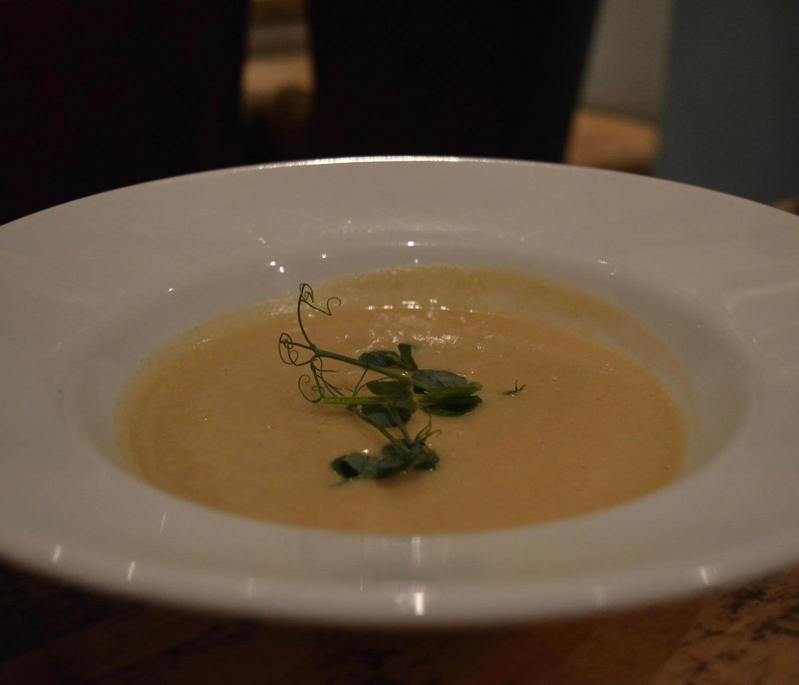 Cauliflower soup starter from Hinnies Restaurant, Whitley Bay