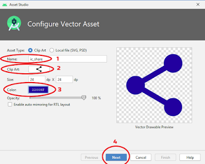 langkah-langkah membuat icon vector asset android studio