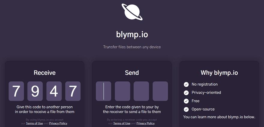 blymp.io點對點傳輸連線