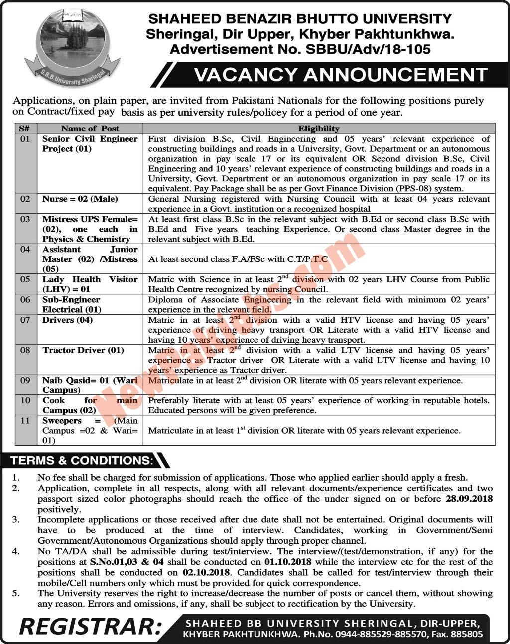 Shaheed Benazir Bhutto University Offered Latest Jobs 2018