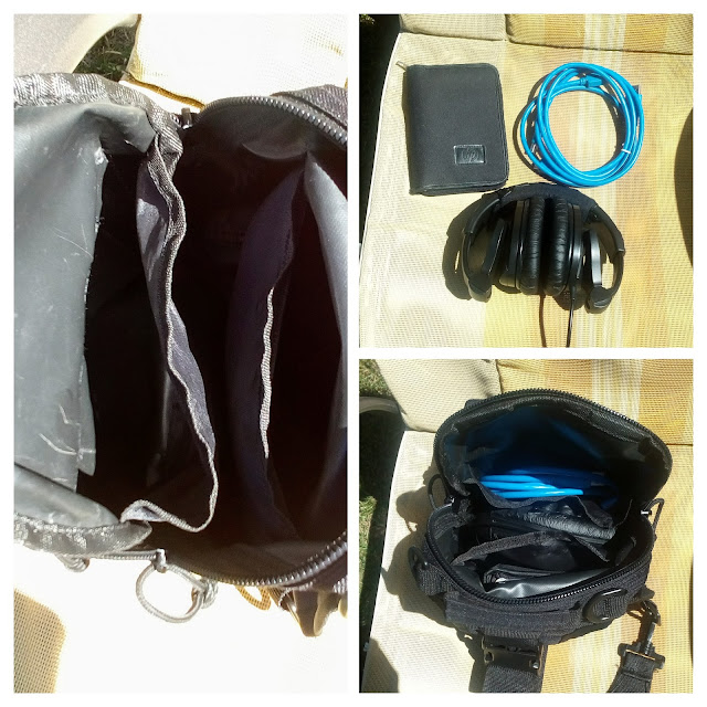 GearBest Crossbody Sling Bag - A four picture collage of the larger compartment, hard drive, fire wire and headphones