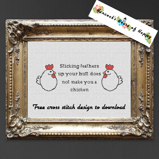You Can't Talk About Hen Club but You Can Cross Stitch About Hen Club. Funny Country Style Chicken Cross Stitch Pattern Free to Download