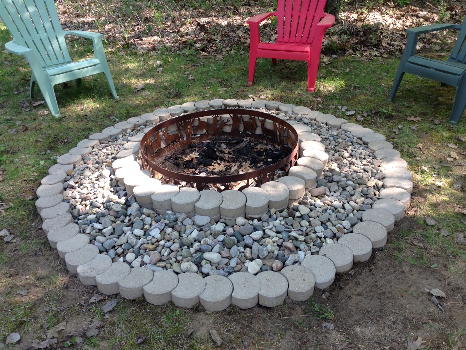 The Completed Stone Fire Pit Project: Happy Life: Updated Fire Pit- Pinterest Project Complete