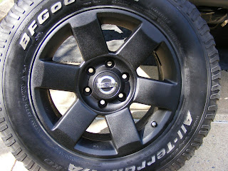 Wheels painted with bedliner