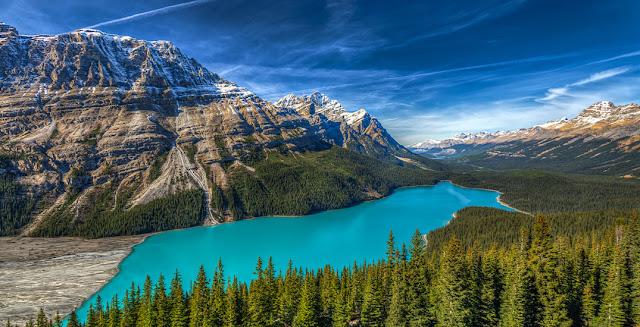 aguas azul turquesas en el lago Peyto, Canadá, vista aérea
